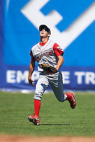 Williamsport Crosscutters outfielder Zachary Coppola (11) tracks down a fly ball during a game against the Batavia Muckdogs on July 16, 2015 at Dwyer Stadium in Batavia, New York.  Batavia defeated Williamsport 4-2.  (Mike Janes/Four Seam Images)