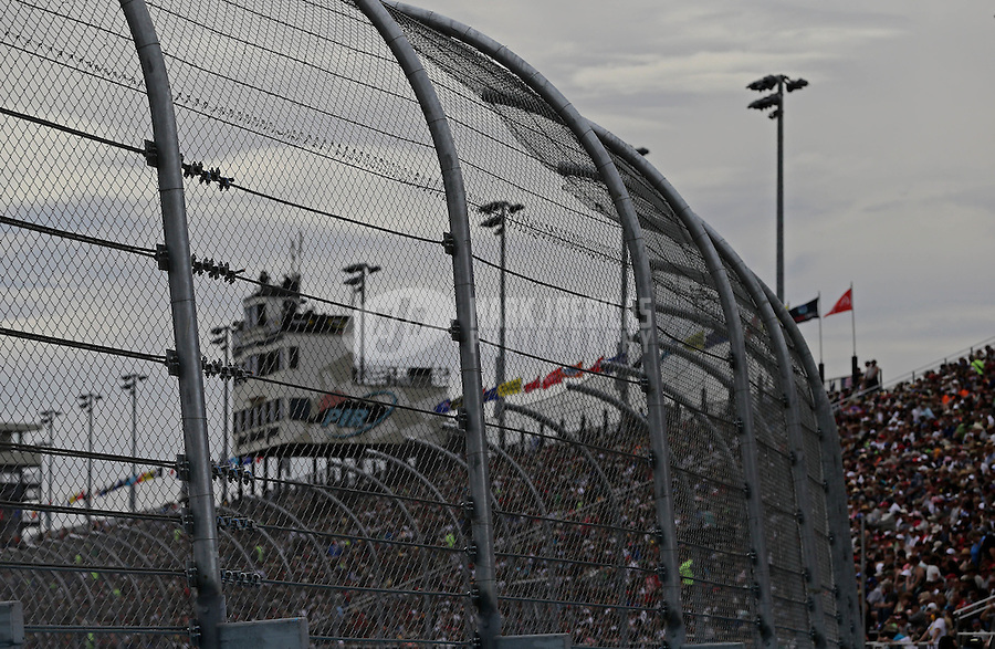 Mar. 3, 2013; Avondale, AZ, USA; Detailed view of the trackside catch fence and cable safety system during the NASCAR Sprint Cup Series race, the Subway Fresh Fit 500 at Phoenix International Raceway. Mandatory Credit: Mark J. Rebilas-