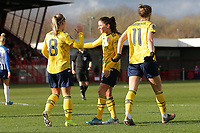 Jordan Nobbs of Arsenal scores the third goal for her team and celebrates during Brighton & Hove Albion Women vs Arsenal Women, Barclays FA Women's Super League Football at Broadfield Stadium on 12th January 2020