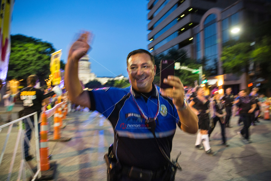 Austin, Texas - Austin Police Chief Art Acevedo greets the crowds at the Austin PRIDE Parade on Saturday, Aug. 27, 2016.<br />