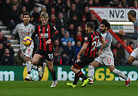 Bournemouth's David Brooks under pressure from Liverpool's Roberto Firmino (left) & Liverpool's Mohamed Salah (right) <br /> <br /> Photographer David Horton/CameraSport<br /> <br /> The Premier League - Bournemouth v Liverpool - Saturday 8th December 2018 - Vitality Stadium - Bournemouth<br /> <br /> World Copyright © 2018 CameraSport. All rights reserved. 43 Linden Ave. Countesthorpe. Leicester. England. LE8 5PG - Tel: +44 (0) 116 277 4147 - admin@camerasport.com - www.camerasport.com