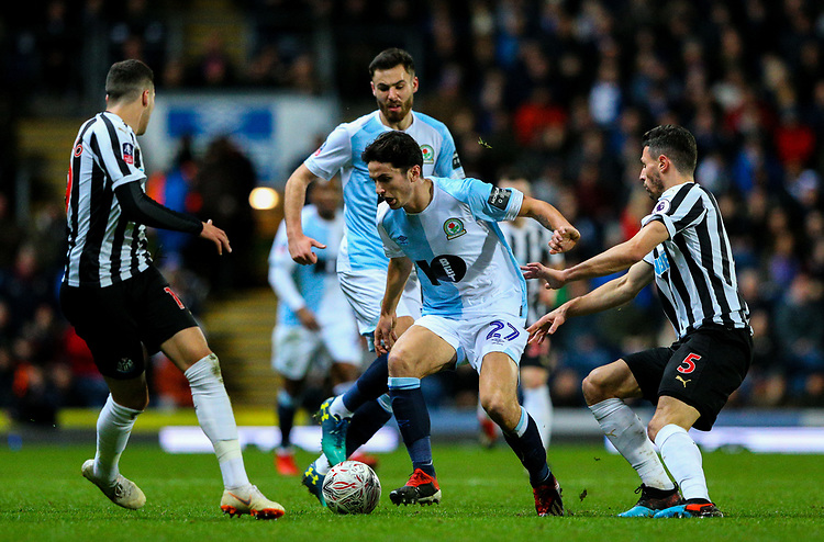 Blackburn Rovers' Lewis Travis battles with Newcastle United's Fabian Schar and Javi Manquillo<br /> <br /> Photographer Alex Dodd/CameraSport<br /> <br /> Emirates FA Cup Third Round Replay - Blackburn Rovers v Newcastle United - Tuesday 15th January 2019 - Ewood Park - Blackburn<br />  <br /> World Copyright &copy; 2019 CameraSport. All rights reserved. 43 Linden Ave. Countesthorpe. Leicester. England. LE8 5PG - Tel: +44 (0) 116 277 4147 - admin@camerasport.com - www.camerasport.com