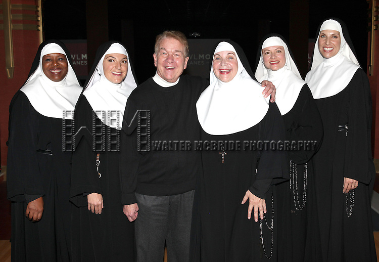 Bambi Jones, Christine Mild, Dan Goggin, Cindy Williams, Jeanne Tinker and Stephanie Wahl  performing a preview of 'Nunset Boulevard: The Nunsense Hollywood Bowl Show' at the Bowlmor Lanes Thursday, Sept. 27, 2012 in Times Square, New York.