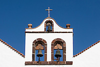 Spain, Canary Islands, La Palma, Villa de Garafia, Santo Domingo: village church (detail), bell tower
