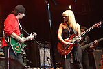 "Carlos Santana & Orianthi {who appears in Michael Jackson's ""This is It"" } performs live at The Paul Reed Smith's 20th Anniversary Concert held at The Grove of  Anaheim,in Anaheim,California on January 21,2005. Copyright 2005 by DVS / RockinExposures"