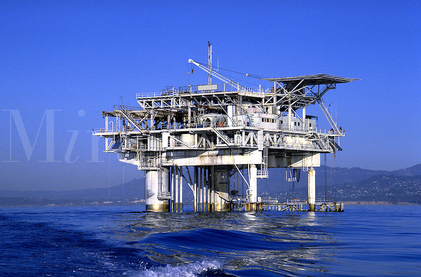 A producing well of natural gas and oil 5 miles offshore. Santa Barbara California United States