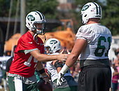 New York Jets quarterback Sam Darnold (14) acknowledges New York Jets center Spencer Long (61) as they participate in a joint training camp practice with the Washington Redskins at the Washington Redskins Bon Secours Training Facility in Richmond, Virginia on Tuesday, August 14, 2018.<br /> Credit: Ron Sachs / CNP<br /> (RESTRICTION: NO New York or New Jersey Newspapers or newspapers within a 75 mile radius of New York City)