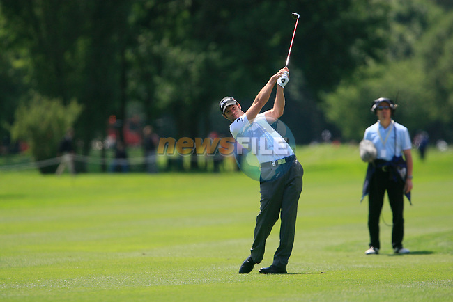 Bradley Dredge (WAL) plays his 2nd shot on the 9th hole during Day 2 of the BMW International Open at Golf Club Munchen Eichenried, Germany, 24th June 2011 (Photo Eoin Clarke/www.golffile.ie)