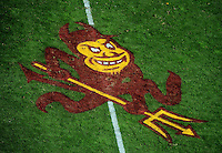 Nov. 28, 2009; Tempe, AZ, USA; Detailed view of the Sun Devils logo painted into the field during the game between the Arizona State Sun Devils against the Arizona Wildcats at Sun Devil Stadium. Arizona defeated Arizona State 20-17. Mandatory Credit: Mark J. Rebilas-