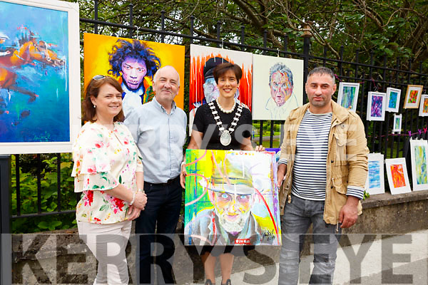 Attending the art exhibition in Denny Street on Saturday morning. L-r, Susan Kelly, Aiden Kelly (Chamber of Alliance), Cllr: Norma Foley (Mayor of Tralee) and Mikel (Artist).