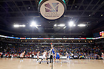 SIOUX FALLS, SD - MARCH 8:  Margaret McCloud #30 from the University of South Dakota jumps for the opening tip with Clarissa Ober #21 from South Dakota State University in the championship game of the 2016 Summit League Tournament Tuesday afternoon in Sioux Falls. (Photo by Dave Eggen/Inertia)