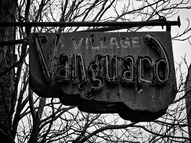 The Village Vanguard jazz club sign on 7th Avenue South in Greenwich Village in New York City. The club was opened by Max Gordon in 1935.