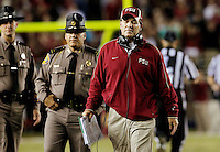 TALLAHASSEE, FL 11/19/11-FSU-UVA111911 CH-Florida State Head Coach Jimbo Fisher reacts as it appears the Seminoles will lose to Virginia in the final moments of the game Saturday at Doak Campbell Stadium in Tallahassee. The Seminoles lost to the Cavaliers 14-13..COLIN HACKLEY PHOTO