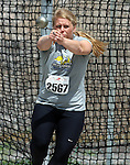 SIOUX FALLS, SD - MAY 2:  Trisha Sumption from South Dakota State University throws the hammer Friday afternoon at the Howard Wood Dakota Relays. (Photo by Dave Eggen/Inertia)