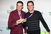 US Olympic Gold Medalists Bob and Mike Bryan attend the 13th Annual 'BNP Paribas Taste of Tennis' at the W New York.  New York City, August 23, 2012. &copy;&nbsp;Diego Corredor/MediaPunch Inc. /NortePhoto.com<br />