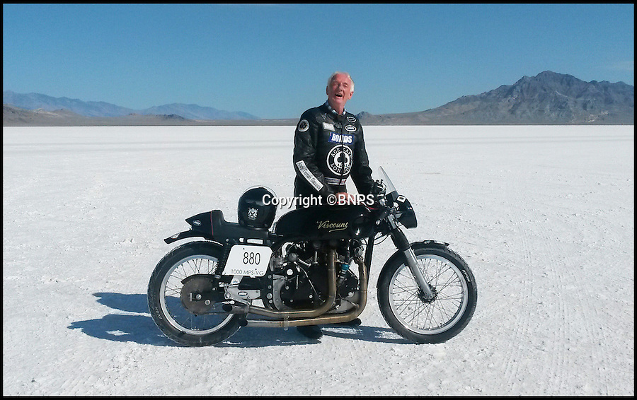 BNPS.co.uk (01202 558833)<br /> Pic: PhilYeomans/BNPS<br /> <br /> Eric after smashing a land speed record.<br /> <br /> Plucky pensioner Eric Patterson is celebrating after setting a string of two-wheeled land speed records - at the tender age of 68.<br /> <br /> Former painter and decorator Eric has smashed four world records on his motorbike after discovering a daredevil streak in his early 60s.<br /> <br /> Eric has ridden motorbikes all his life but only found a love for setting speed records in 2008 following divorce after 28 years of marriage followed by a cancer scare.<br /> <br /> The unlikely record breaker has since become an expert at coaxing powerful bikes to speeds of more than 130mph at the world renowned Bonneville salt flats in Utah, USA.