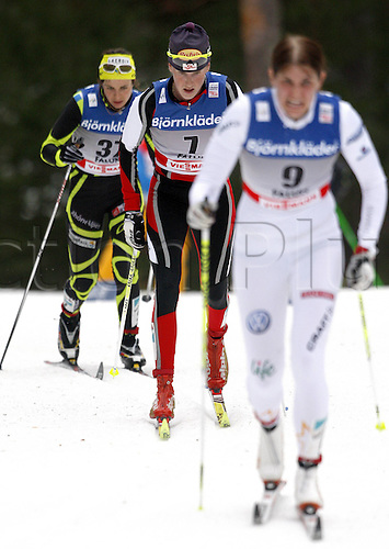 17 03 2012   Falun Sweden Ski Nordic Cross-country skiing FIS World Cup 10km Mass start for women classic Picture shows Anouk Faivre Picon FRA Katarina Smutna AUT and Ida Inge Mars yolk SWE