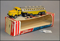 BNPS.co.uk (01202 558833)<br /> Pic: Astons/BNPS<br /> <br /> Tekno #481 Koppartrans tanker.<br /> <br /> A retired historian's remarkable collection of 700 toy cars has sold for almost &pound;100,000.<br /> <br /> Anders Clausager, 67, amassed so many toy cars over the past 60 years he got his own auction to off-load them.<br /> <br /> A collector from Sheffield paid &pound;2,100 for a pack of 12 Lego miniatures set, while a prestigious French Dinky Toys set went for &pound;1,450 and a Corgi Toys set went for &pound;850 at the auction in Dudley.