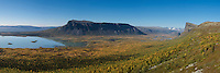 panoramic view over lake Laitaure and Rapadalen, near Aktse hut, Kungsleden trail, Lapland, Sweden