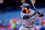 15 April 2018: Colorado Rockies outfielder Charlie Blackmon at bat against the Washington Nationals at Nationals Park in Washington, DC. All MLB players wore Number 42 to commemorate the life of Jackie Robinson and to celebrate Black Heritage in pro baseball. The Rockies edged out the Nationals 6-5 to take the final game of their 4-game series. Mandatory Credit: Ed Wolfstein Photo *** RAW (NEF) Image File Available ***