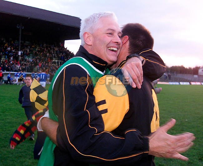 Dunshaughlin manager Eamon Barry celebrating after his sides victory over Skryne in the Meath Senior Football Championship Final at Pairc Tailteann in Navan..Picture: Paul Mohan/Newsfile