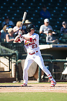 Surprise Saguaros right fielder Lane Thomas (23), of the St. Louis Cardinals organization, at bat during an Arizona Fall League game against the Glendale Desert Dogs at Surprise Stadium on November 13, 2018 in Surprise, Arizona. Surprise defeated Glendale 9-2. (Zachary Lucy/Four Seam Images)