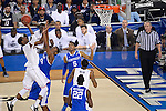 07 APR 2014: DeAndre Daniels (2) of the University of Connecticut shoots over Dakari Johnson (44) of the University of Kentucky during the 2014 NCAA Men's DI Basketball Final Four Championship at AT&T Stadium in Arlington, TX.  Connecticut defeated Kentucky 60-54 to win the national title. Brett Wilhelm/NCAA Photos