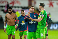 Fabio Borini of Sunderland  and John O'Shea of Sunderland  celebrate at final whistle of the  Barclays Premier League match between Swansea City and Sunderland played at the Liberty Stadium, Swansea  on  January the 13th 2016