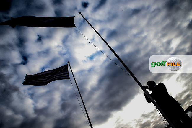 James Sugrue (GB&I) raises the Irish flag during the opening ceremony at the Walker Cup, Royal Liverpool Golf CLub, Hoylake, Cheshire, England. 06/09/2019.<br /> Picture Fran Caffrey / Golffile.ie<br /> <br /> All photo usage must carry mandatory copyright credit (© Golffile | Fran Caffrey)