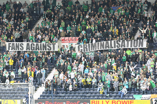 Celtic fans with a banner stating 'Fans Against Criminalisation' in the Kilmarnock v Celtic Clydesdale Bank Scottish Premier League match played at Rugby Park, Kilmarnock on 1.10.11