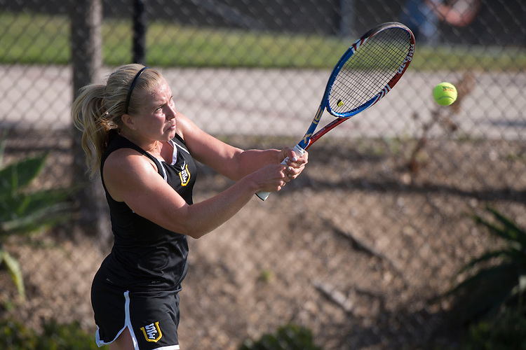April 23, 2014; San Diego, CA, USA; San Francisco Dons player Thyra Taune during the WCC Tennis Championships at Barnes Tennis Center.