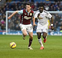 Burnley v Swansea <br /> Swansea's Bafetibi Goimis chases a thru ball with Burnleys Michael Keane