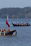 Canoe Journey, Paddle to Nisqually, 2016, Stillaguamish tribal canoes arriving in Olympia, Washington, 7-30-2016, Salish Sea, Puget Sound, Washington State, USA,