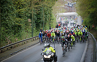 peloton rolling out of Li&egrave;ge and 'let loose' at the &quot;depart r&eacute;el&quot;<br /> <br /> 102nd Li&egrave;ge-Bastogne-Li&egrave;ge 2016