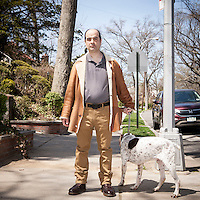 HSUL 20160318 USA, New York, Queens. Childhood home of Donald Trump Republican presidential nomination candidate. Andy Ruttig and his dog Hank. Photographer: David Brabyn