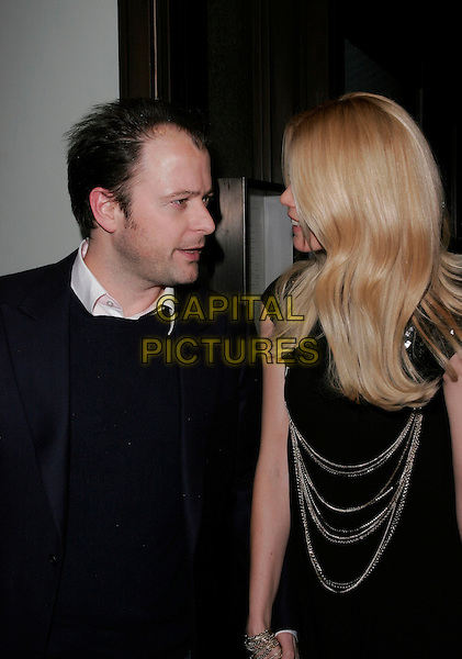 MATTHEW VAUGHN & CLAUDIA SCHIFFER.Celebration Of Film Dinner, Cecconi's, Burlington Gardens, London, England, February 9th 2007..half length black dress gold chains sequined married husband wife vaughan.CAP/AH.©Adam Houghton/Capital Pictures.