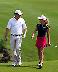 Hugh Grant and Belen Mozo during the Mission Hills Start Trophy at the Mission Hills Golf Resort on October 31, 2010 in Haikou, China. The Mission Hills Star Trophy is Asia's leading leisure liflestyle event and features Hollywood celebrities and international golf stars. Photo by Victor Fraile