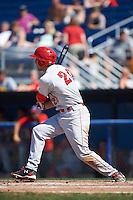Auburn Doubledays first baseman Ryan Ripken (20) at bat during a game against the Batavia Muckdogs on September 5, 2016 at Dwyer Stadium in Batavia, New York.  Batavia defeated Auburn 4-3. (Mike Janes/Four Seam Images)