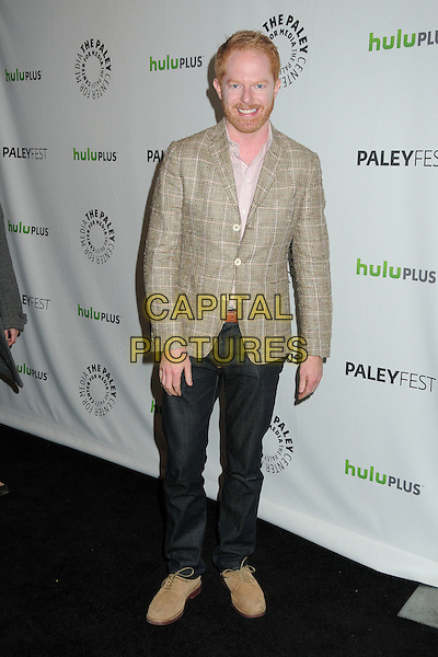 """Jesse Tyler Ferguson.PaleyFest 2012 Presents """"Modern Family"""" held at the Saban Theatre, Beverly Hills, California, USA..March 14th, 2012.full length jeans denim brown check jacket beard facial hair.CAP/ADM/BP.©Byron Purvis/AdMedia/Capital Pictures."""