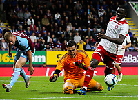 Olympiakos' Mady Camara and Andreas Gianniotis defend the goal in the closing stages<br /> <br /> Photographer Alex Dodd/CameraSport<br /> <br /> UEFA Europa League - UEFA Europa League Qualifying Second Leg 2 - Burnley v Olympiakos - Thursday August 30th 2018 - Turf Moor - Burnley<br />  <br /> World Copyright © 2018 CameraSport. All rights reserved. 43 Linden Ave. Countesthorpe. Leicester. England. LE8 5PG - Tel: +44 (0) 116 277 4147 - admin@camerasport.com - www.camerasport.com