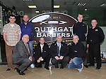 The Staff of Western Motors who had their heads shaved after the Southgate motor show by Darren Ryan of Southgate barbers and Warren Coleman of Warren's barbers Rush. Photo: Colin Bell/pressphotos.ie