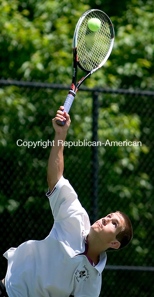 WATERTOWN, CT- 29 MAY 2007- 052907JT05- <br /> Naugatuck's Matt Cappello serves to Holy Cross' George Anderson during Tuesday's match at Crestbrook Park in Watertown.<br /> Josalee Thrift Republican-American