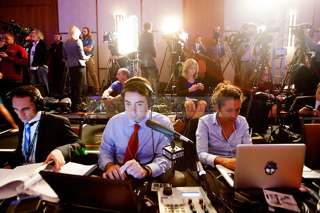 National media await the results of the Kentucky Senate race between Senate Minority leader Mitch McConnell and  Kentucky Secretary of State Alison Lundergan Grimes at the Marriott