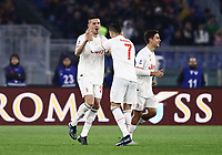 12th January 2020; Stadio Olympico, Rome, Italy; Italian Serie A Football, Roma versus Juventus; Merih Demiral of Juventus celebrates after scoring 3 minutes for 1-0 with Ronaldo