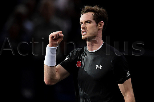 07.11.2015. Paris, France BNP Paribas Master Tennis, Bercy. Semi-finals match between Andy Murray( GBR) and David Ferrrer.   Andy Murray (GBR)celebrates a good 2-set win to go through to the final