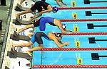 19.08.2014, Velodrom, Berlin, GER, Berlin, Schwimm-EM 2014, im Bild Start, 100m Breaststroke - Women, Bahn 1 - Vanessa Grimberg<br /> <br />               <br /> Foto &copy; nordphoto /  Engler