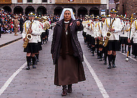Cusco, Peru. 25 July 2014. A nun takes part in the parade for the 193rd Independence's anniversary of Peru.  Photo by Juan Gabriel Lopera/VIEWpress.