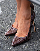 The shoes worn by First lady Melania Trump as she and United States President Donald J. Trump depart the South Lawn of the White House in Washington, DC to deliver remarks at the Prescription Drug Abuse and Heroin Summit in Atlanta, Georgia on April 24, 2019.<br /> Credit: Ron Sachs / CNP