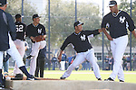 Masahiro Tanaka, Hiroki Kuroda (Yankees),<br /> FEBRUARY 15, 2014 - MLB : New York Yankees pitchers (L-R) CC Sabathia, Masahiro Tanaka, Hiroki Kuroda and Ivan Nova practice in the bullpen at George M. Steinbrenner Field in Tampa, Florida, United States.<br /> (Photo by Thomas Anderson/AFLO) (JAPANESE NEWSPAPER OUT)