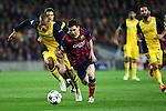 UEFA Champions League 2013/2014.<br /> Quarter-finals 1st leg.<br /> FC Barcelona vs Club Atletico de Madrid: 1-1.<br /> Miranda vs Lionel Messi.